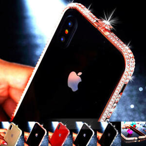 Luxury-Bling-Diamond-Crystal-Metal-Bumper-Case-Cover-For-iPhone-X-10-8-7-6S-Plus