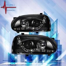 93-98 VW Golf MK3 Black Projector Headlight LED DRL Head Lamp PAIR