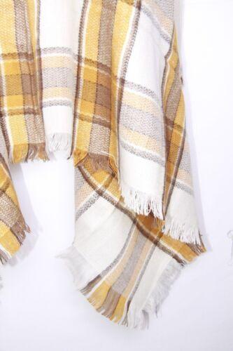 s123 Crema Giallo Senape /& Brown controllare Tartan Stampa Inverno Sciarpa W Frange Orlo
