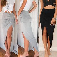 New Womens Ladies Ruched Asymmetrical Side Split Slit Maxi Skirt Dress Size 6-16