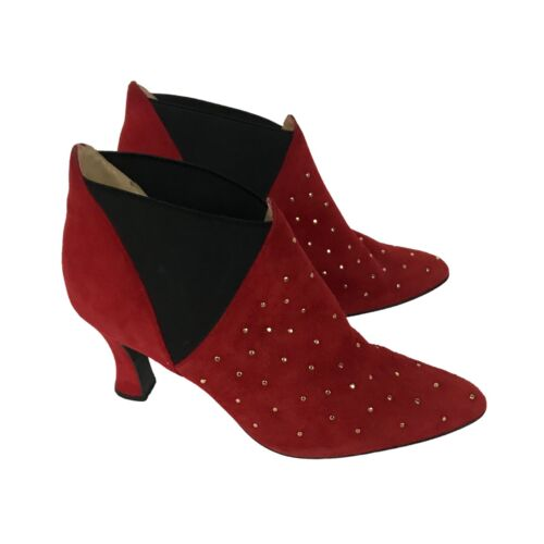 Vintage Red Studded Ankle Boots / 1990s Pointy To… - image 1