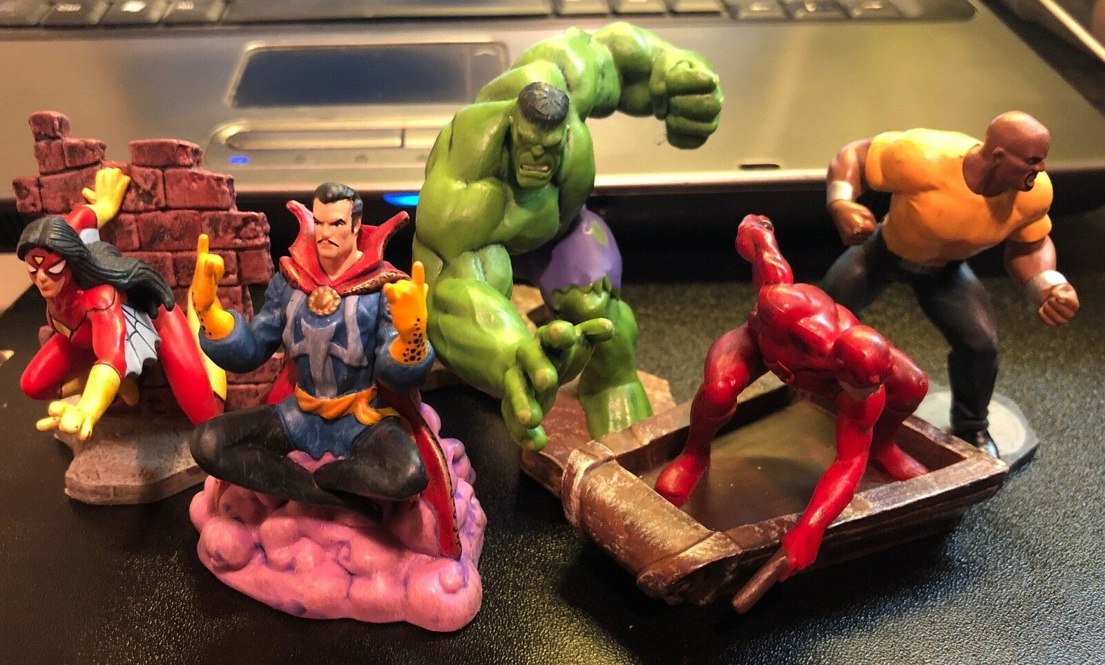 Hasbro 2011 Marvel PVC Figure Lot Hulk DaROTevil Dr Strange Luke Cage Spider
