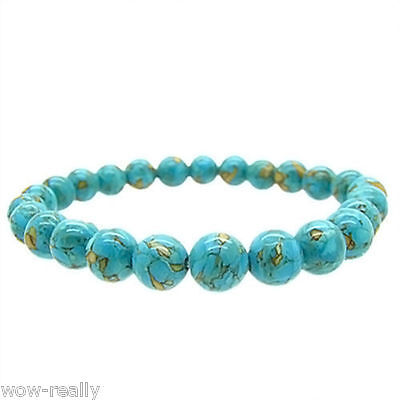 Pretty Round 8mm Blue Green Turquoise Round Stretchy Bracelet Bangle