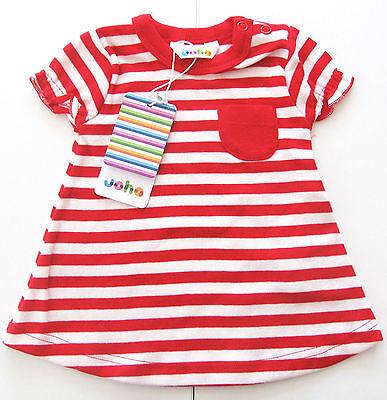 Tunika Kleid Gr.56 /62 68 /74 80 Joha NEU 100%Baumwolle rot weiß baby sommer