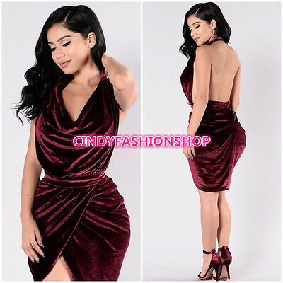 USA Women's Sexy Velvet Drape Backless Split Club Bandage Body con Party Dress