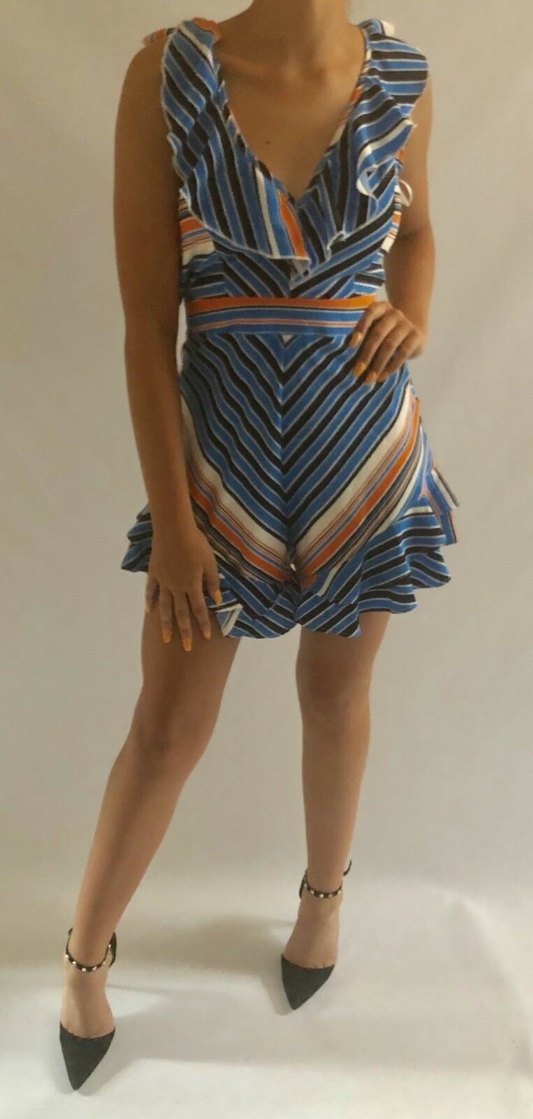 daba975d1fc Allyson Collection bluee Striped Playsuit