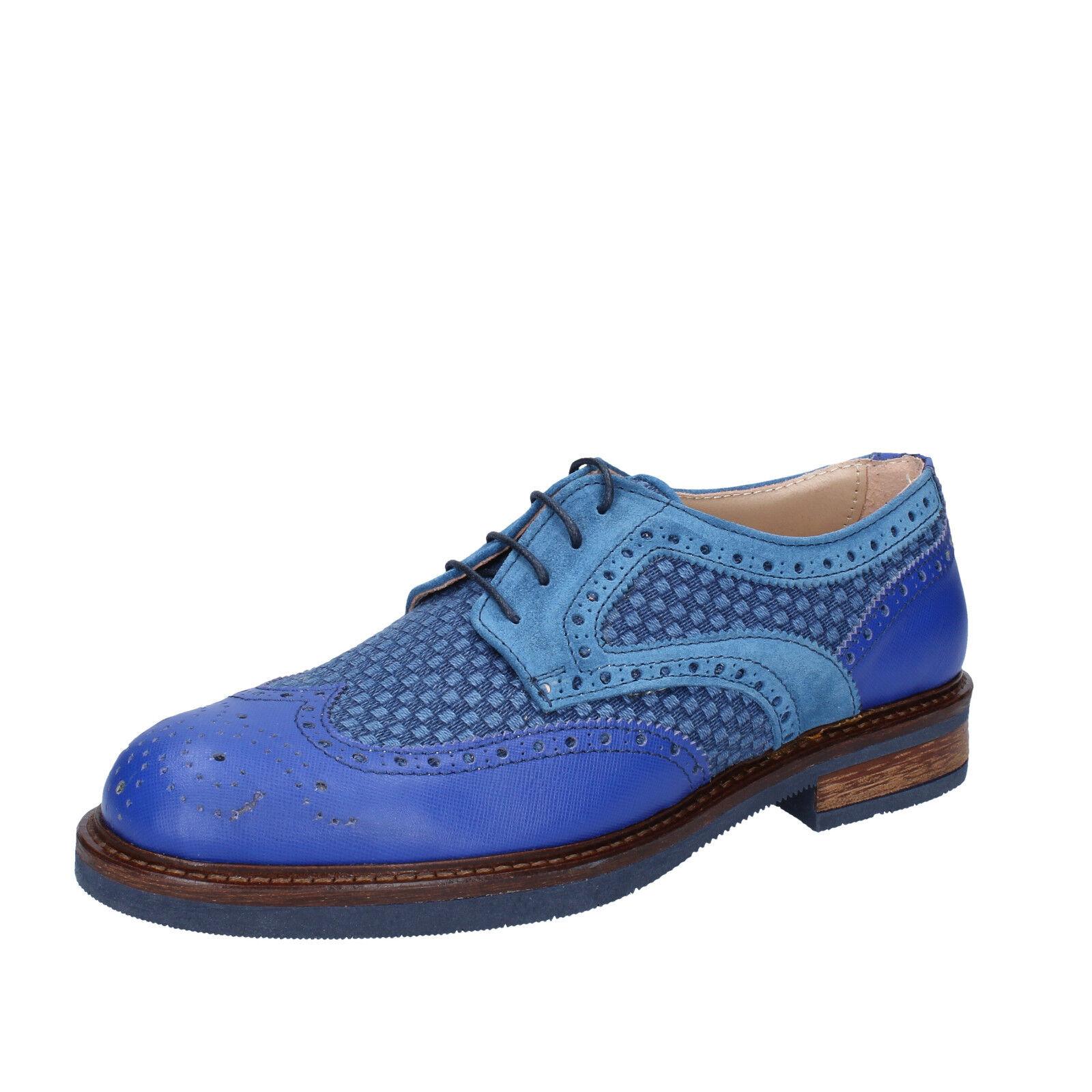 men's shoes FDF SHOES 7 () elegant blue leather suede BZ345-B
