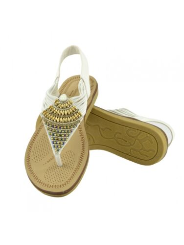 Boho Chic Beaded Sandals Strappy Sling Back Embellished Gold Party Flip Flops