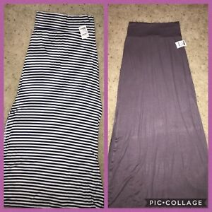 eb7e364196 Details about NWT Charlotte Russe jersey maxi skirt Sz S navy White striped  Grey horizontal