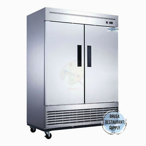 NEW-2-Door-Reach-In-Refrigerator-Cooler-Stainless-DRUSA-D55R-NSF-2025-Solid