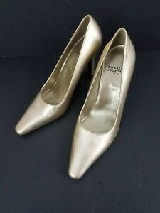 New-Charles-Jourdan-Paris-Women-Shoes-Size-7-M-Gold-Leather-Pumps-Heels