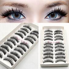 10 Pares /Set Negro Natural Falsas Pestañas postizas Maquillaje latigazos