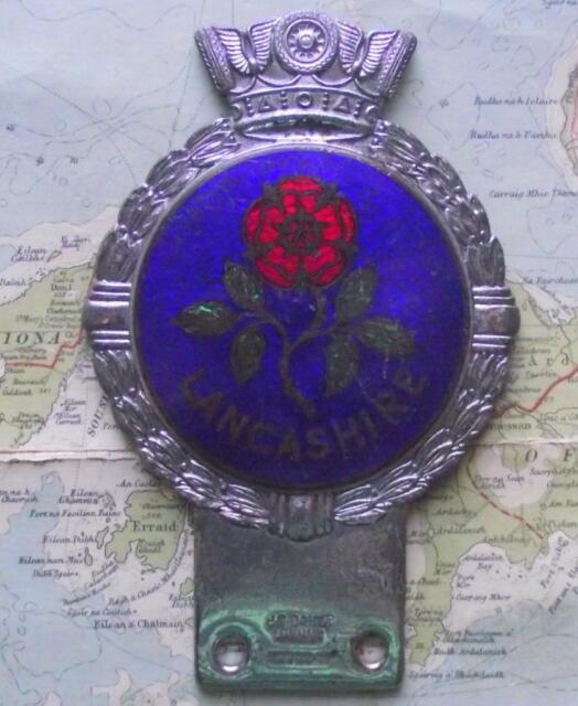 Genuine Old  Vintage Car Mascot Badge : Lancashire Enamel and Chrome by J Gaunt