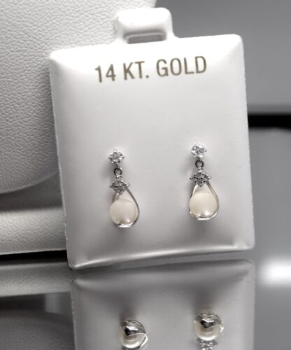 14k White Gold Drop Genuine Pearl Ball Cage Screw Back Stud Earrings
