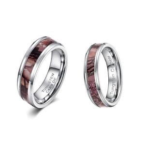Image Is Loading Mens Women 039 S Tungsten Ring Real Oak