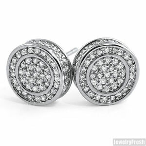 Image Is Loading White Gold Finish Iced Out Round Cz Mens