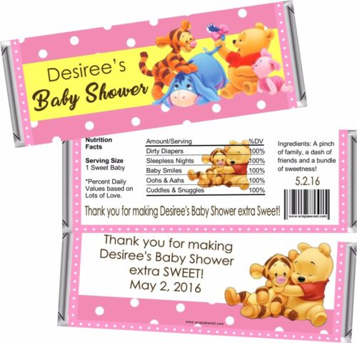 Blue Set of 24 Pink or Green Winnie Pooh Baby Shower Candy Wrappers FREE Foil
