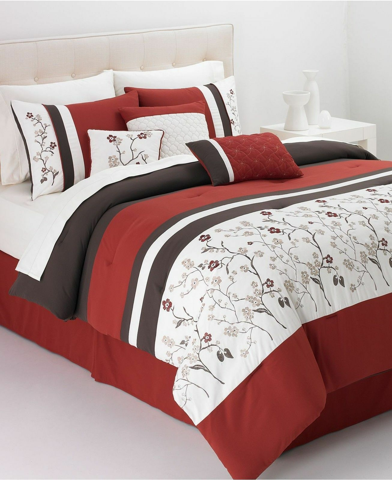 Hallmart Collectibles Bella damen 6 Pc  KING Comforter Set Embroiderot rot  200