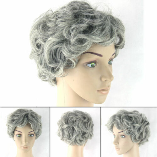 Old Lady Grandma Hairpieces Womens Ladies Gray Curly Short Fancy Dress Wig
