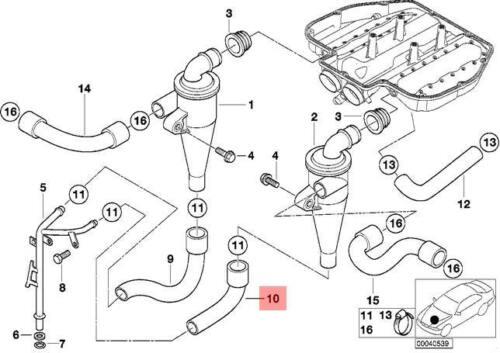 Genuine Engine Crankcase Return Hose BMW Z8 E39 E52 M5 Cabrio Sedan 11151406902