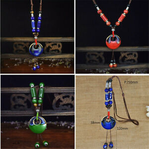 Vintage-Ceramics-Beads-Pendant-Ethnic-Long-Necklace-Chain-Fashion-Jewelry-Gifts