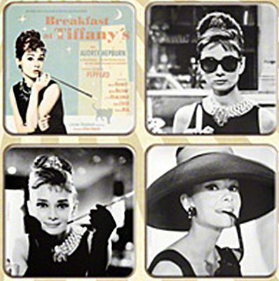 Breakfast at Tiffanys / Audrey Hepburn set of 4 drinks coasters  (na)