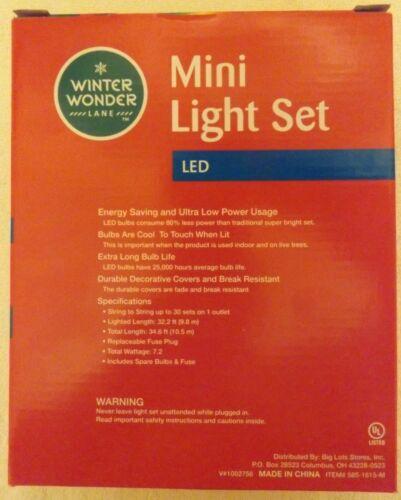 Lot of 1 or 3 Winter Wonder Lane 120 LED Mini Lights String Set Indoor// Outdoor