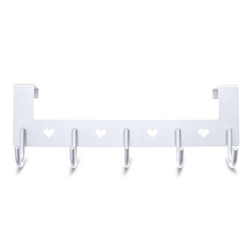 Heavy Duty Gulevy Silver Over The Door 5 Hook Hanger Rack With Hearts