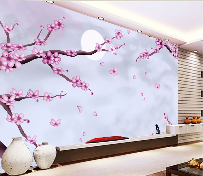 3D moonlight moonlight moonlight Flower tree wall Paper Print Decal Wall Deco Indoor wall Mural a02dc2