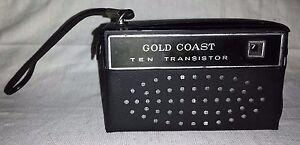 Vintage Gold Coast 10 Transistor Radio with case