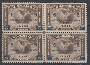 Canada-MINT-OG-BLOCK-Scott-C4-6-cent-on-5-cent-olive-brown-034-Air-Mail-034-F