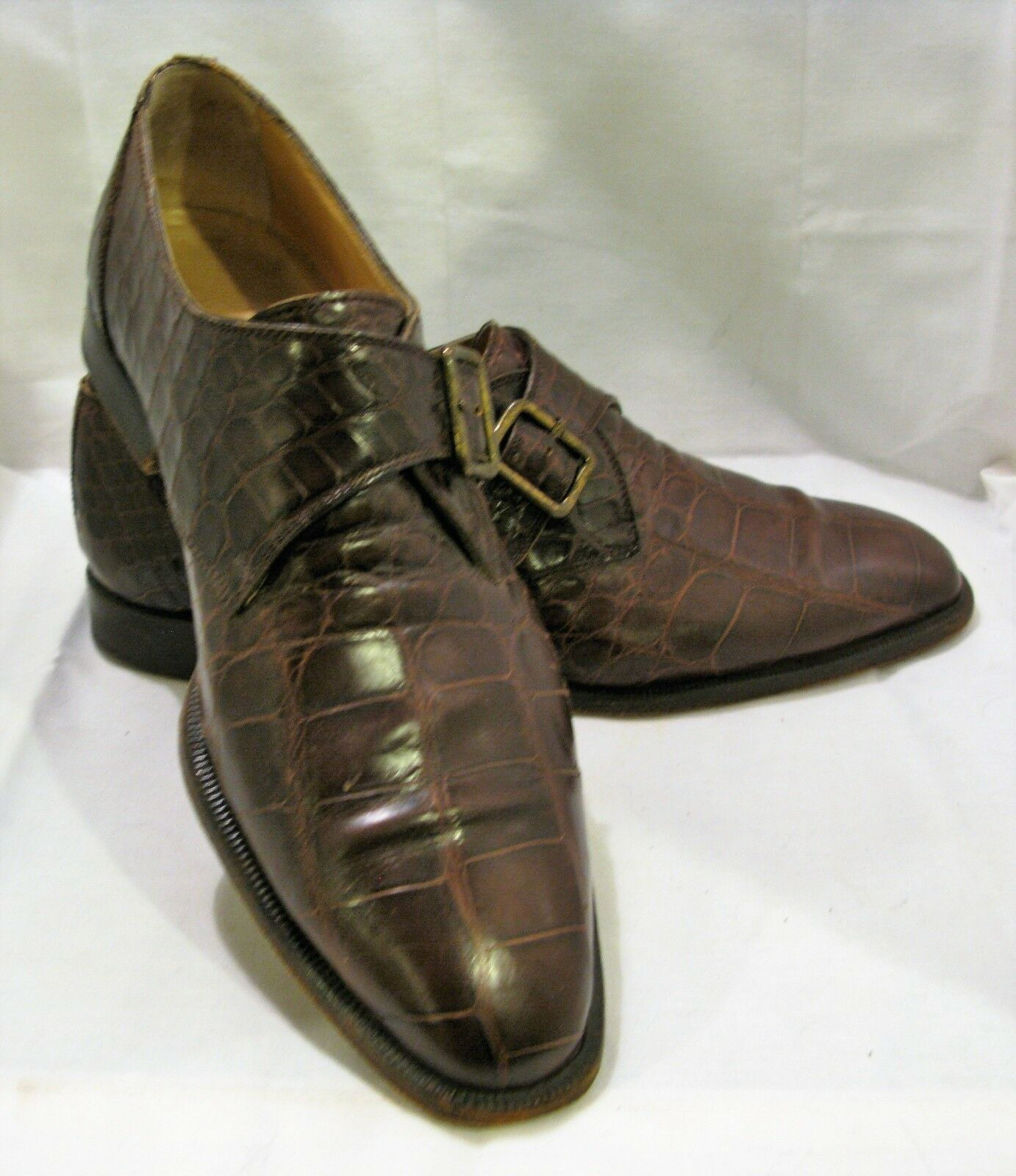 Zapatos de vestir Piel de Cocodrilo Marrón FABBIANI Para hombres hebilla 9 1 2