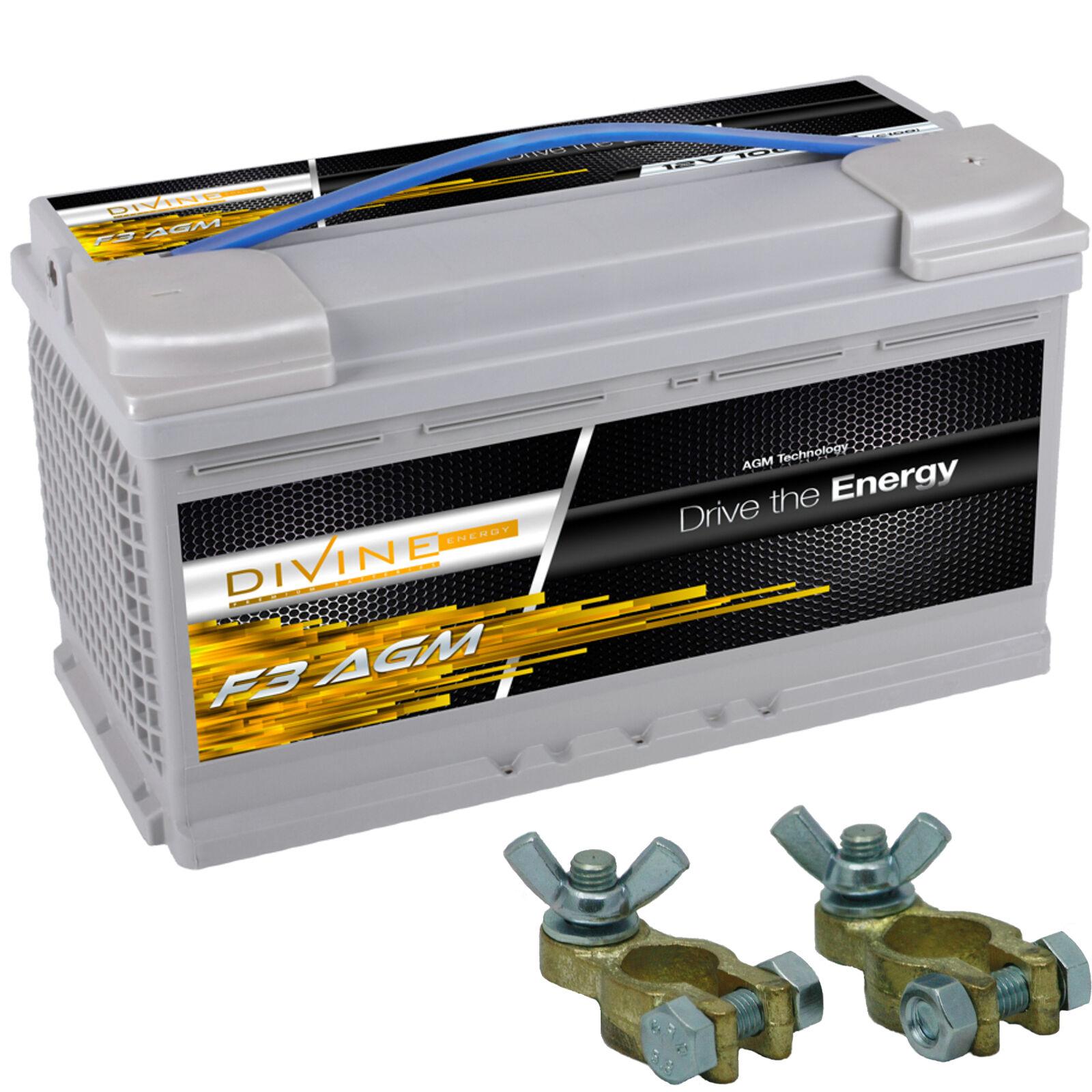 Divine F3 100Ah AGM Verbraucherbatterie 90, mit Batterieklemmen ersetzt 90, Verbraucherbatterie 105ah 7a9a39