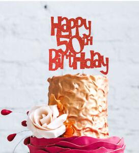 Strange Happy 50Th Birthday Cake Topper Glittery Red 50Th Party Cake Personalised Birthday Cards Veneteletsinfo