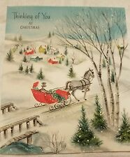 Beautiful Snowy Village Vintage Christmas Card USA Sleigh Horses Bridge Town Old