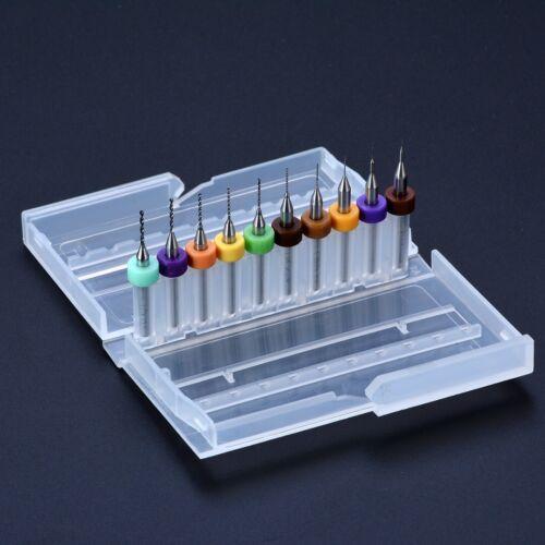 """10pcs 1//8/"""" Tige d/'impression 0.1-1mm Circuit Board PCB Carbure Micro Twist Drill Bits"""