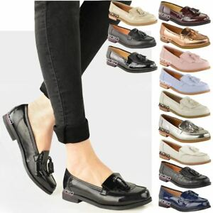 ad94d5317 Details about WOMENS LADIES FLAT CASUAL OFFICE PATENT FAUX LEATHER FRINGE  TASSEL LOAFERS SHOES
