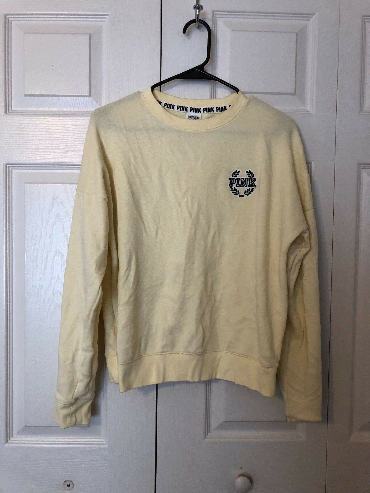 NEW Victoria's Secret PINK Logo Yellow Limited Edition OG Signature Crew S
