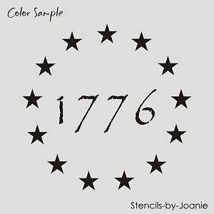 "americana stencil 1"" stars patriotic circle 1776 primitive"