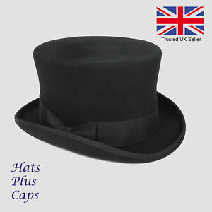 Black Top Hat Quality Handmade 100% Wool British Design Ascot ... d76bc64a6538