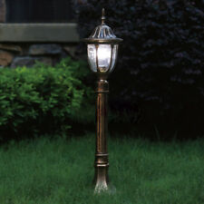 Outdoor Post Lighting 88.5 in 3-Head Seedy Glass Weather Resistant Aged Iron