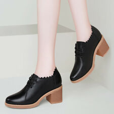 b41cbb3203ec 34-41 Women s Chunky Heel Oxford Shoes Lace Up Derbys Bootie School Girls