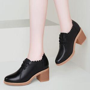 34-41-Women-039-s-Chunky-Heel-Oxford-Shoes-Lace-Up-Derbys-Bootie-School-Girls