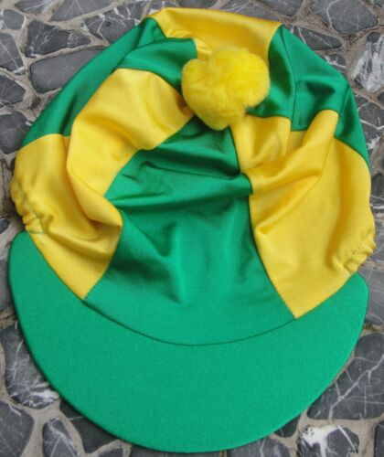 Riding Hat Silk Skull cap Cover EMERALD GREEN & YELLOW With OR wo Pompom