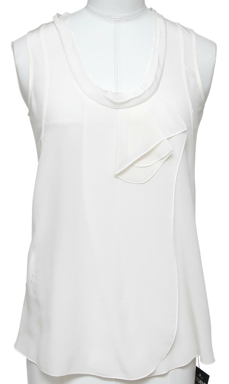 MIU MIU Top Blouse Shirt Sleeveless Silk Ivory Ruffle Sz 36 BNWT