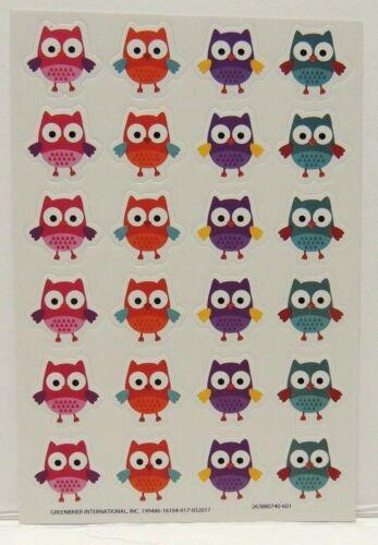 Owl Stickers Pink Orange Purple Teal Owl Stickers 1 Full Sheet of 24 OWLS