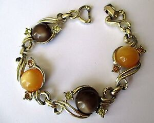 bracelet-ancien-bijou-vintage-couleur-or-cabochon-marron-orange-brillant-3424