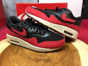 d943e2ebce1 Nike Air Max 1 Essential Black Red 599820-018 Size 6.5 Wmns 5 Men ...