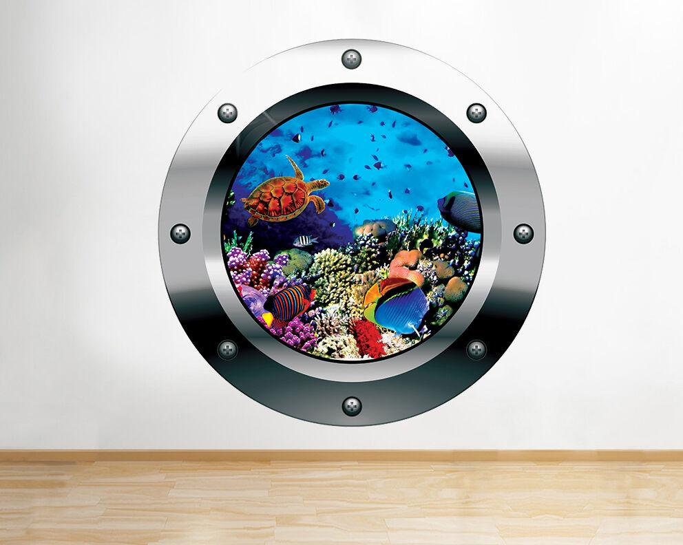 Q189w peces bajo el agua tortuga marin pegatina pared vinilo 3d habitación niños