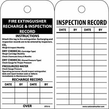 """NMC ST515 Accident Prevention Tag, """"Fire Extinguisher Recharge and Inspection Re"""